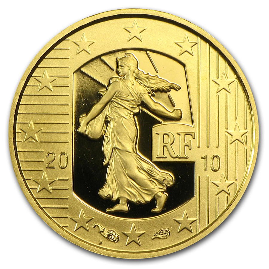 2010 1/25 oz Proof Gold The Sower Anniv of the New Franc