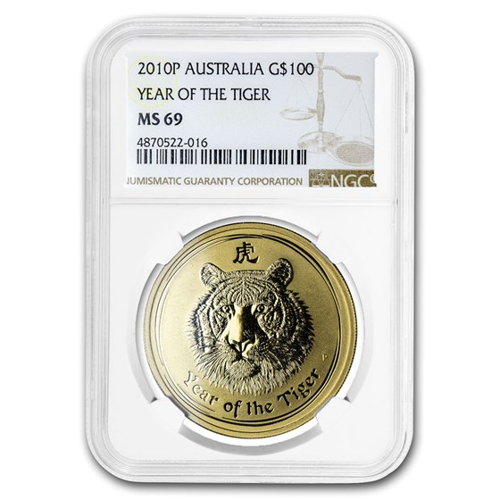2010 1 oz Gold Lunar Year of the Tiger MS-69 NGC (Series 2)