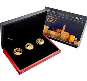 2010-2012 Israel 3-Coin 1 oz Gold Jerusalem of Gold Set