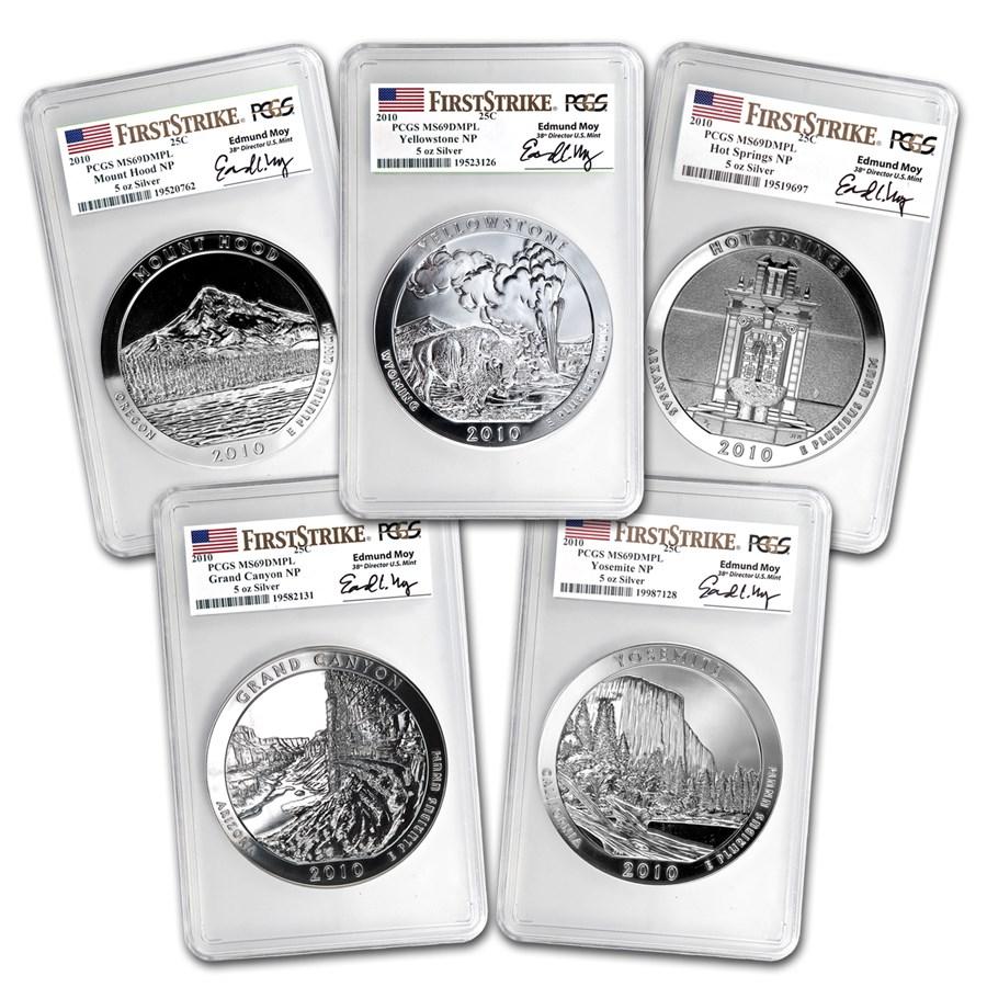 2010 5-Coin 5 oz Silver ATB Set MS-69 DMPL PCGS (FS, Edmund Moy)