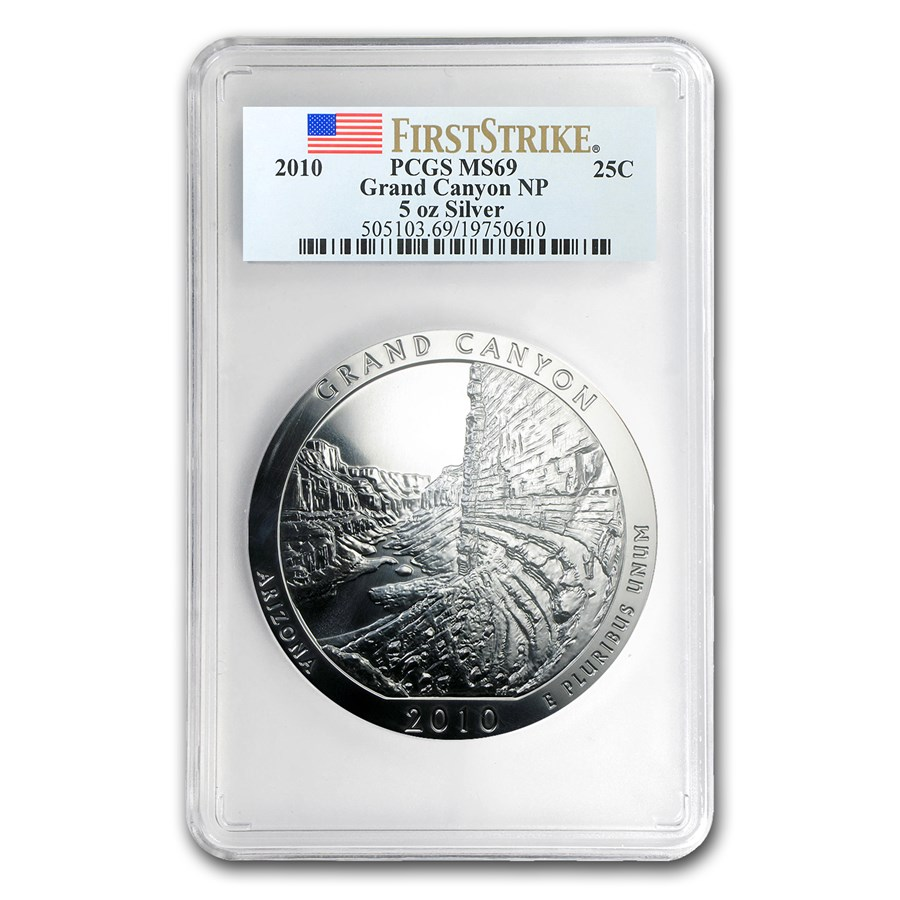 2010 5 oz Silver ATB Grand Canyon MS-69 PCGS (FirstStrike®)