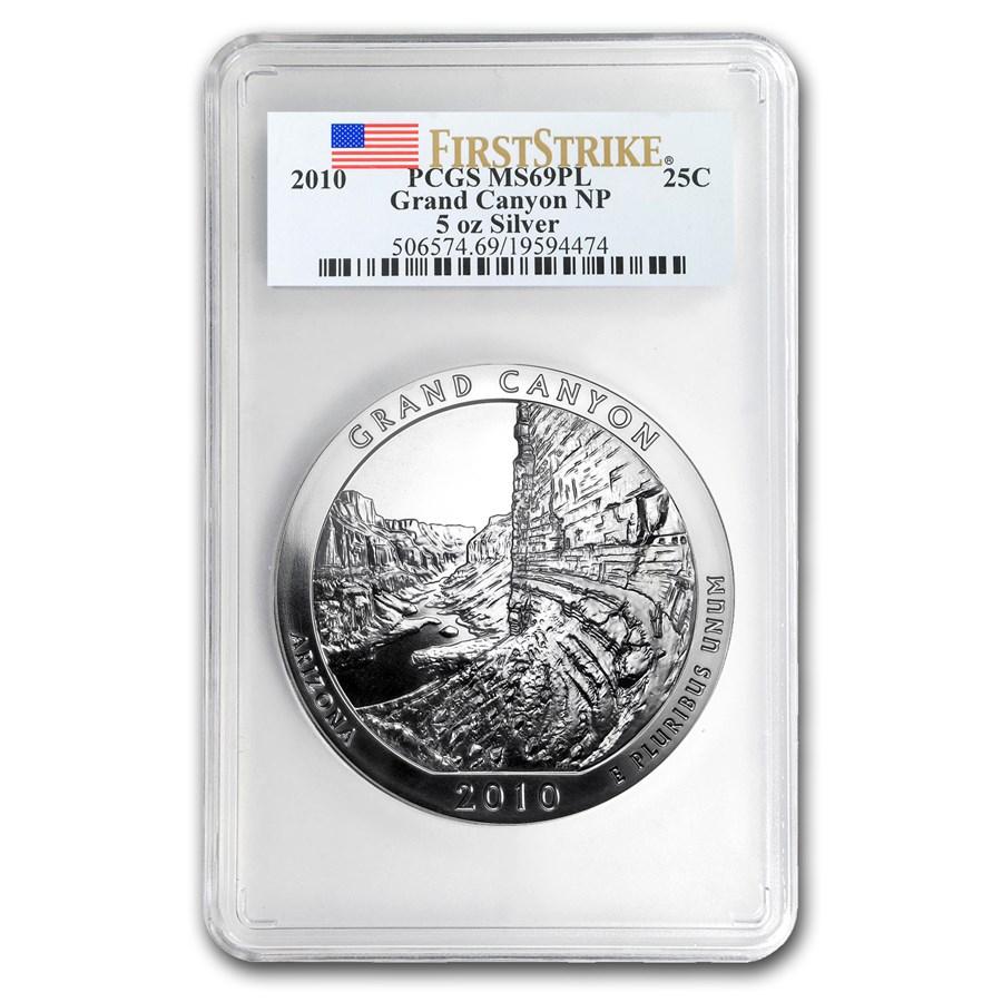 2010 5 oz Silver ATB Grand Canyon MS-69 PL PCGS (FirstStrike®)