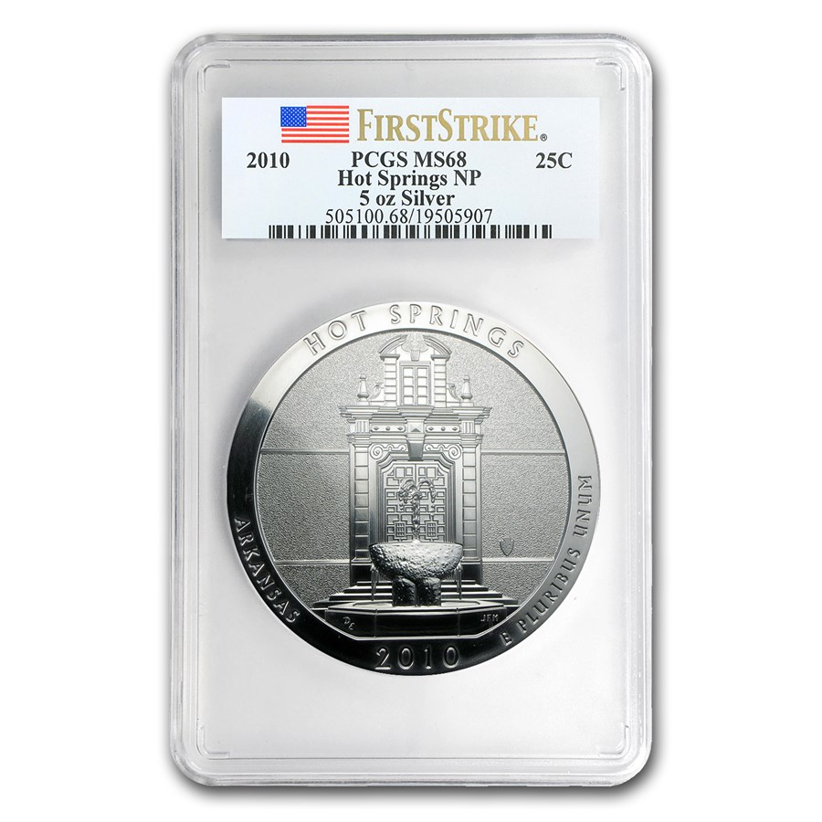 2010 5 oz Silver ATB Hot Springs MS-68 PCGS (FirstStrike®)