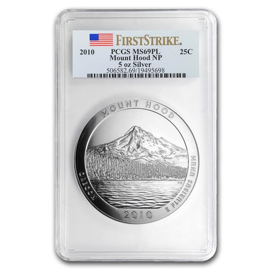 2010 5 oz Silver ATB Mount Hood MS-69 PL PCGS (FirstStrike®)