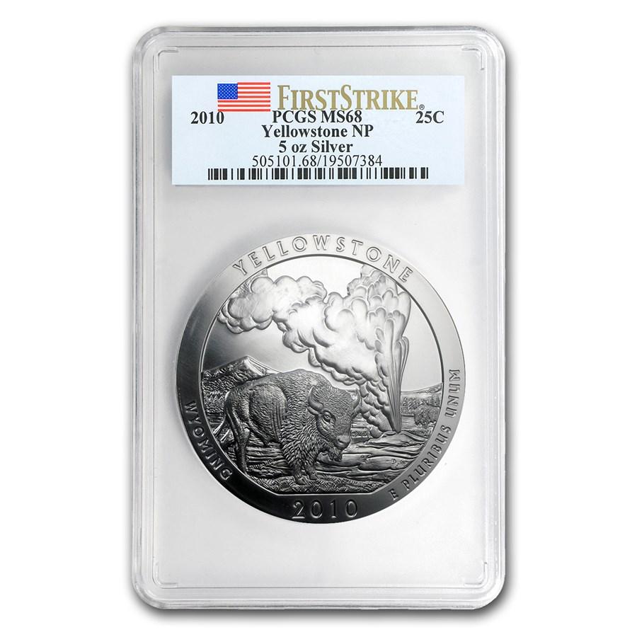 2010 5 oz Silver ATB Yellowstone MS-68 PCGS (FirstStrike®)