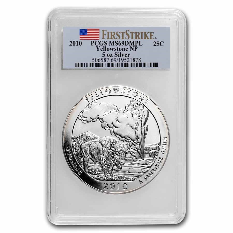 2010 5 oz Silver ATB Yellowstone MS-69 DMPL PCGS (FirstStrike®)