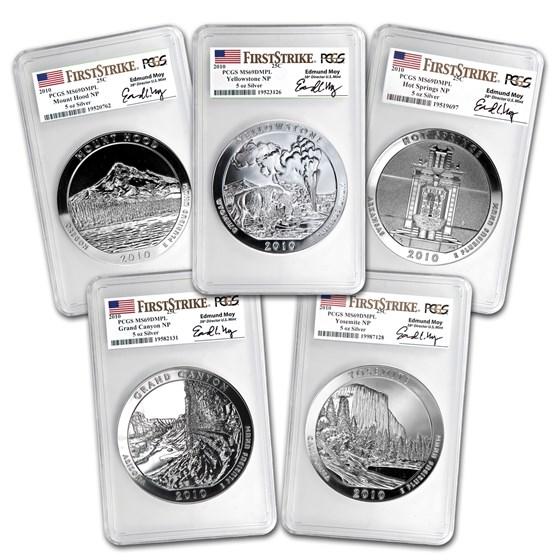 2010 5 oz Silver ATB Yellowstone MS-69 DMPL PCGS (FS, Edmund Moy)