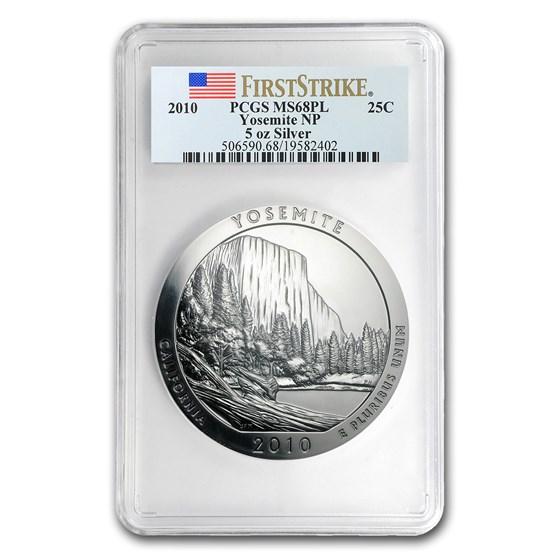 2010 5 oz Silver ATB Yosemite MS-68 PL PCGS (FirstStrike®)