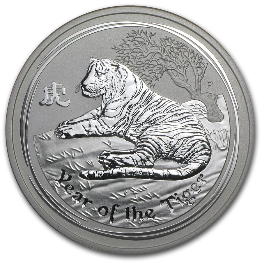 2010 5 oz Silver Australian Year of the Tiger Coin SII (Spots)