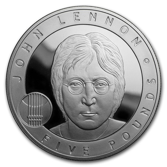 2010 Alderney £5 Silver Proof John Lennon Great Britons