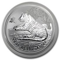 2010 Australia 1/2 kilo Silver Tiger BU (SII, 16.075 oz)