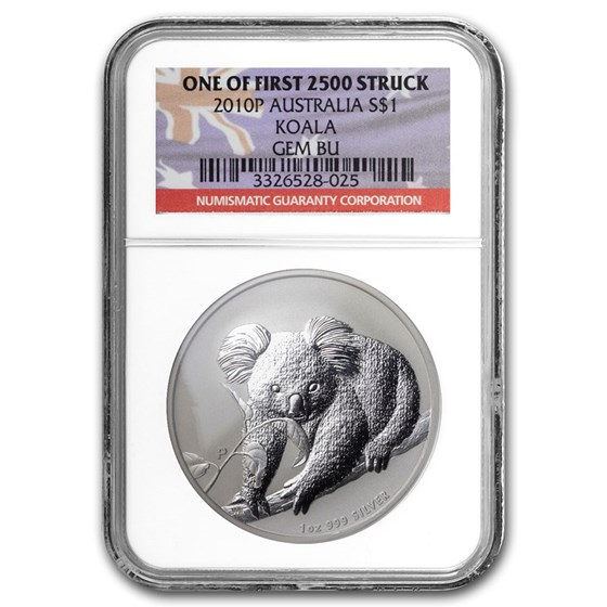 2010 Australia 1 oz Silver Koala Gem BU NGC (1st of 2,500)
