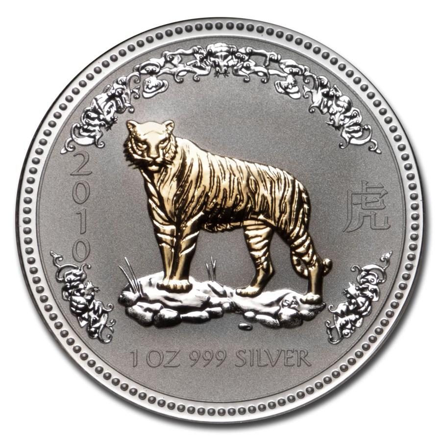 2010 Australia 1 oz Silver Tiger Gilt BU (Series I, w/Box & COA)