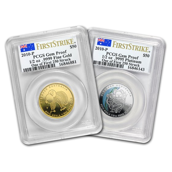 2010 Australia 2-Coin 1/2 oz Gold & Platinum Koala Set PCGS