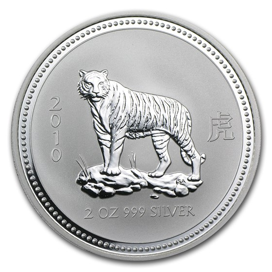 2010 Australia 2 oz Silver Year of the Tiger BU (Series I)