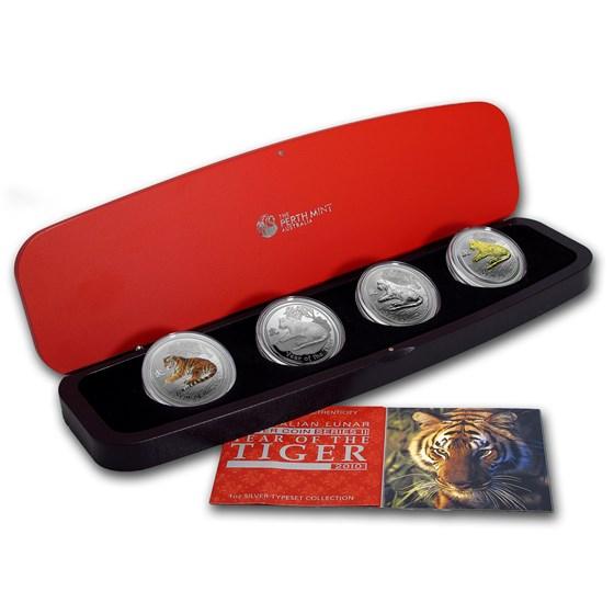 2010 Australia 4-Coin 1 oz Silver Tiger Proof Type Set