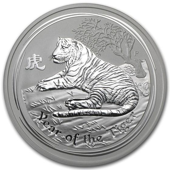 2010 Australia 5 oz Silver Year of the Tiger BU (Series II)