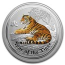 2010 Australia 5 oz Silver Year of the Tiger BU (SII, Colorized)