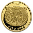 2010 Belarus 1/4 oz Gold Eagle Owl Bubo Bubo Proof
