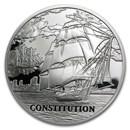 2010 Belarus Silver Sailing Ships w/Hologram USS Constitution