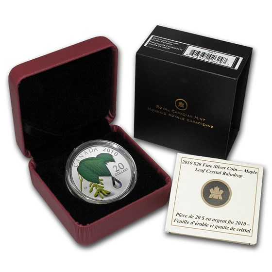 2010 Canada 1 oz Silver Maple Leaf Crystal Raindrop (w/Box & COA)
