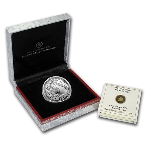 2010 Canada Silver $15 Lunar Lotus Tiger (w/Box & COA)