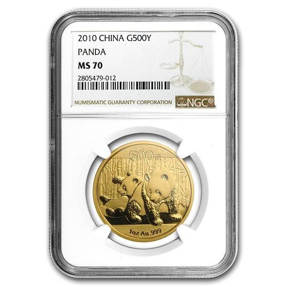 2010 China 1 oz Gold Panda MS-70 NGC