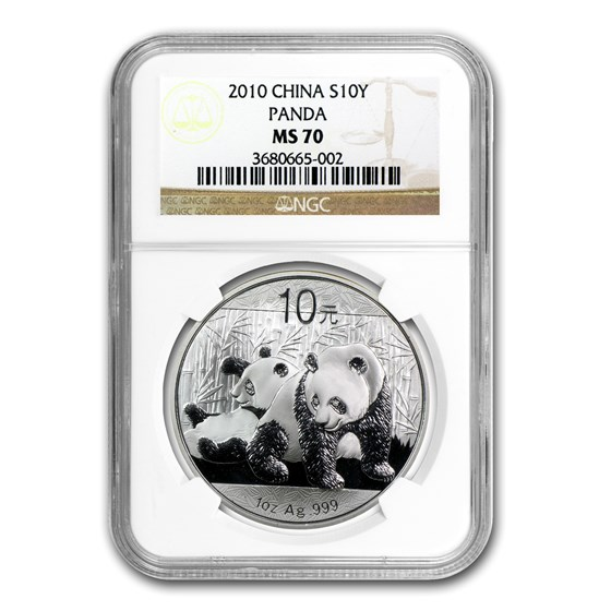 2010 China 1 oz Silver Panda MS-70 NGC