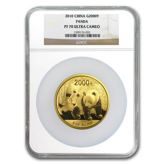 2010 China 5 oz Proof Gold Panda 2000 Yuan PF-70 NGC