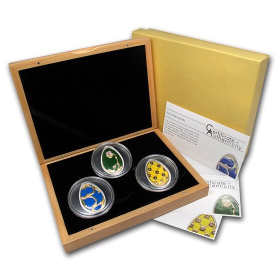 2010 Cook Islands 3-Coin Silver Imperial Eggs in Cloisonné Set