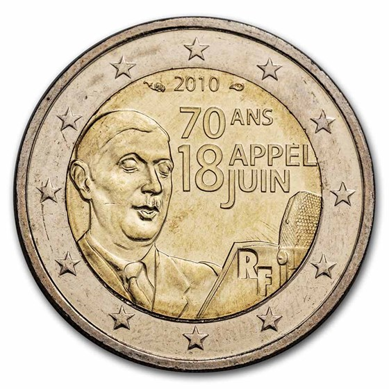 2010 France 2 Euro Charles de Gaulle BU