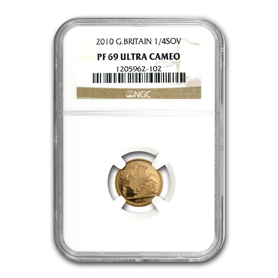 2010 Great Britain Gold 1/4 Sovereign PF-69 NGC