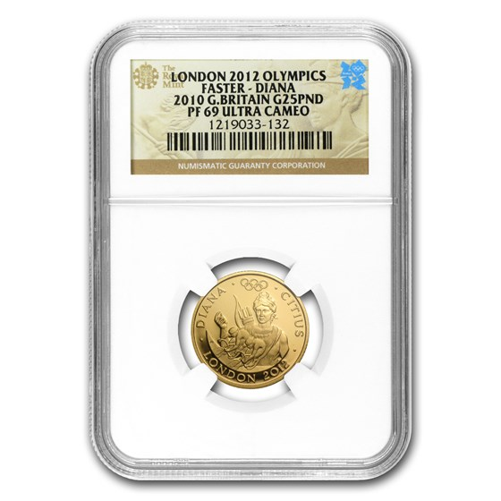 2010 Great Britain Gold £25 Olympics Faster Diana PF-69 NGC