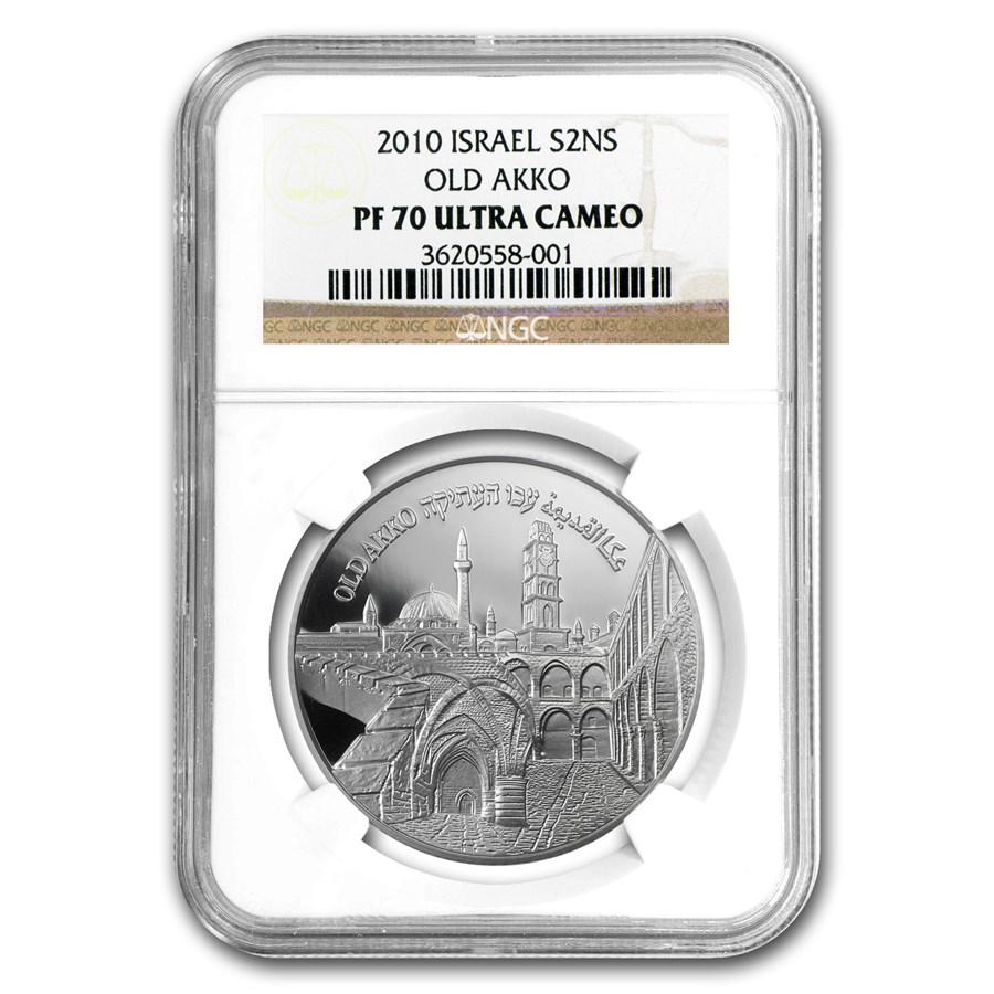 2010 Israel Silver 2 NIS Akko  PF-70 NGC