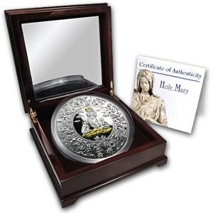 2010 Liberia 1 kilo Silver Puzzle Holy Maria Proof