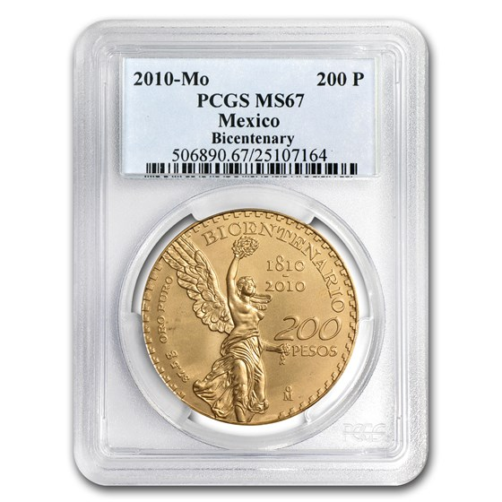 2010 Mexico Gold 200 Pesos Mexican Bicentenary Commem MS-67 PCGS