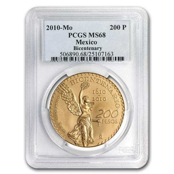 2010 Mexico Gold 200 Pesos Mexican Bicentenary Commem MS-68 PCGS