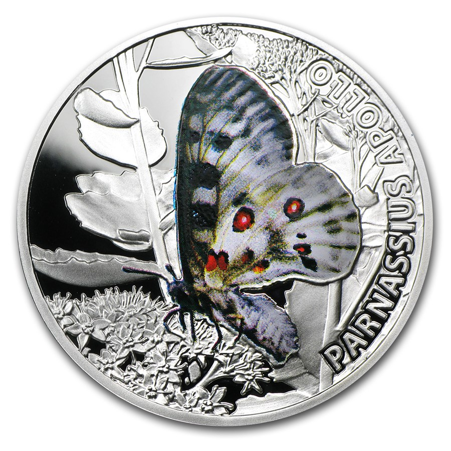 2010 Niue Proof Silver $1 Butterflies Apollo