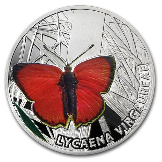 2010 Niue Proof Silver $1 Butterflies Scarce Copper
