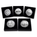 2010-P 5-Coin 5 oz Silver Burnished ATB Set (w/Box & COA)
