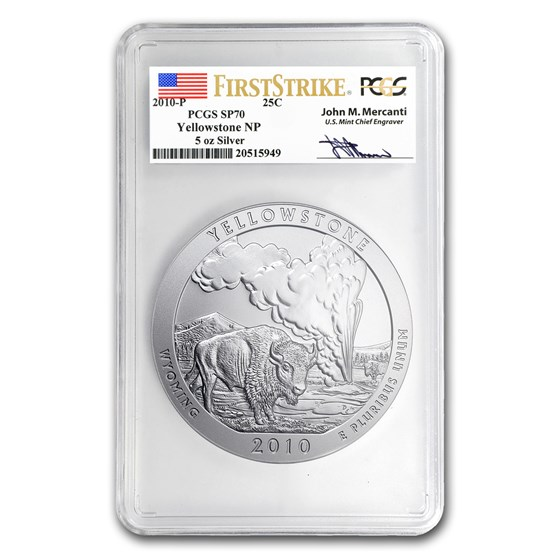 2010-P 5 oz Silver ATB Yellowstone SP-70 PCGS (FS, Mercanti)