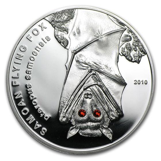 2010 Samoa Silver $10 Flying Fox Proof (w/Swarovski Crystals)