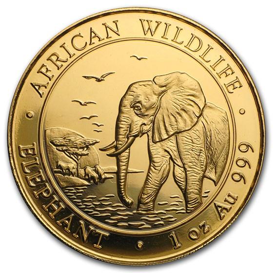 2010 Somalia 1 oz Gold African Elephant BU