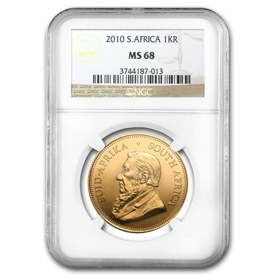 2010 South Africa 1 oz Gold Krugerrand MS-68 NGC