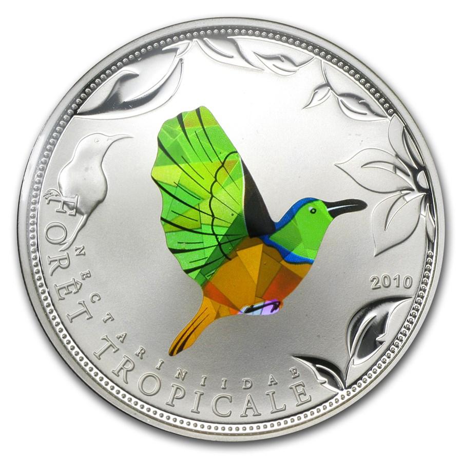 2010 Togo Silver Rainforest Wildlife Green Sunbird Prism Proof