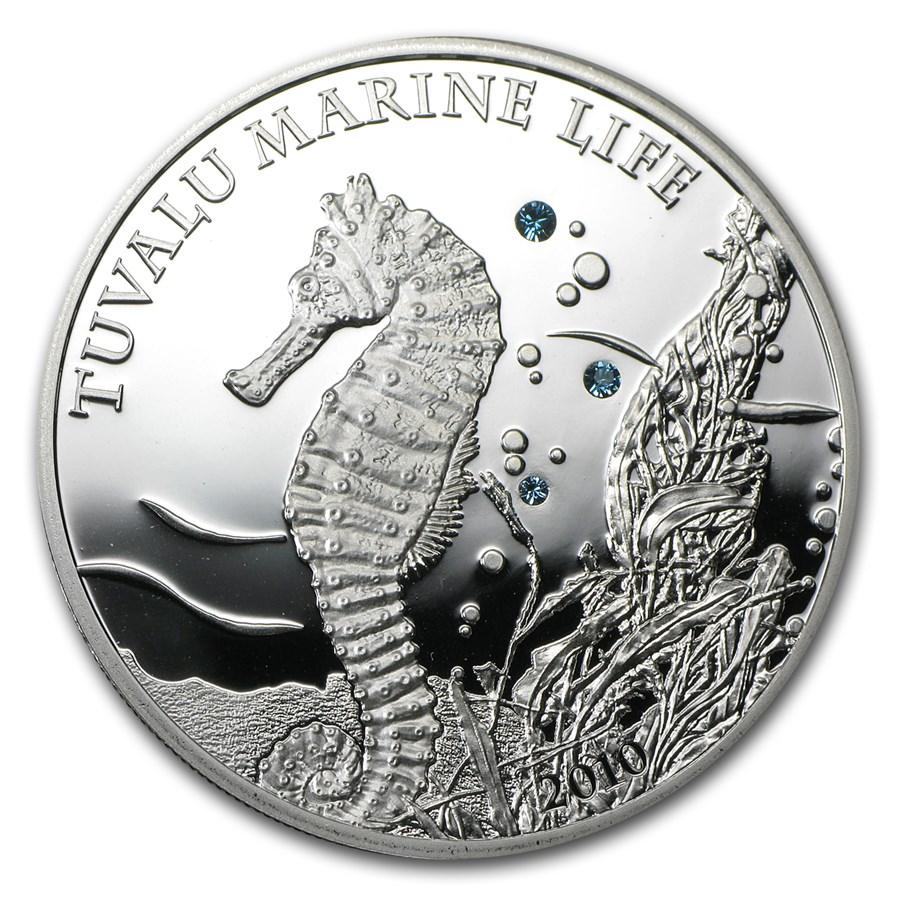 2010 Tuvalu Proof Silver $1 Tuvalu Marine Life Seahorse