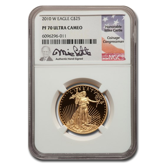 2010-W 1/2 oz Proof American Gold Eagle PF-70 NGC (Castle)