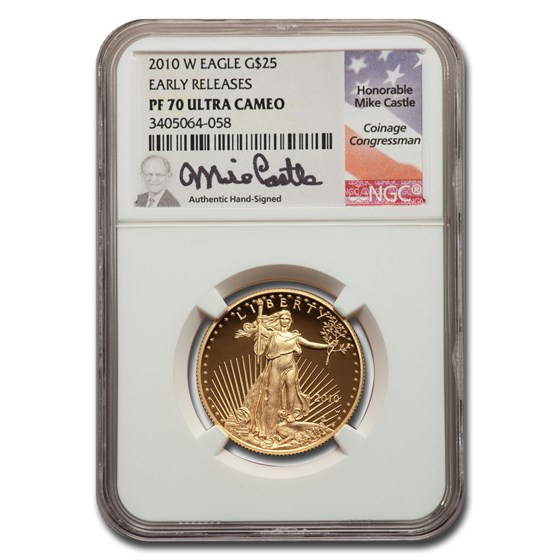 2010-W 1/2 oz Proof American Gold Eagle PF-70 NGC (ER, Castle)