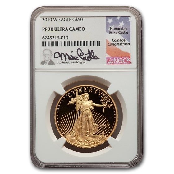 2010-W 1 oz Proof American Gold Eagle PF-70 NGC (Castle Label)