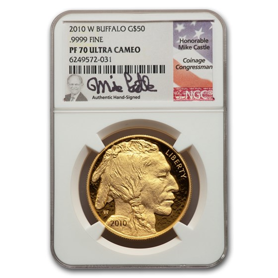 2010-W 1 oz Proof Gold Buffalo PF-70 NGC (Castle)